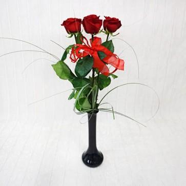3 Rose Rosse a gambo medio con Vaso