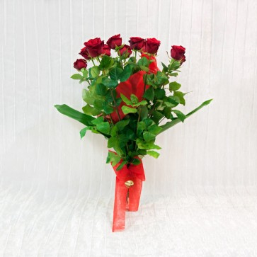 12 Rose Rosse  a gambo lungo