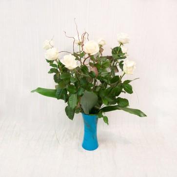 9 Rose bianche gambo medio