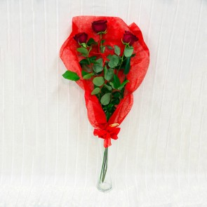 3 rose rosse Deluxe